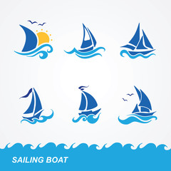 set of sailboat icons