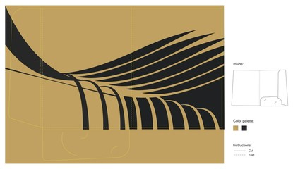 Gold folder template with black abstract leaves