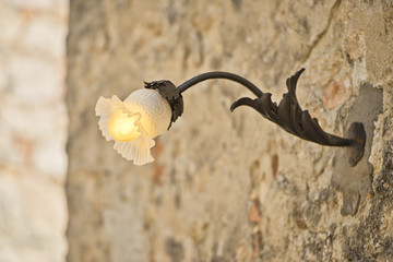 street lamp in medieval italian village