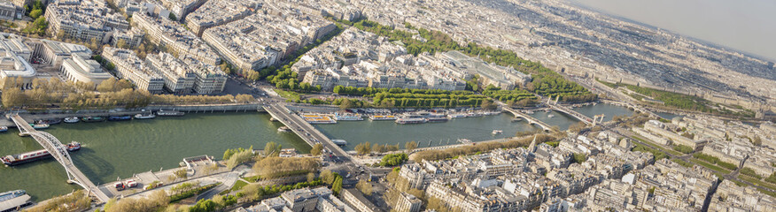 Aerial view from Eiffel Tower on Seine River - Paris.