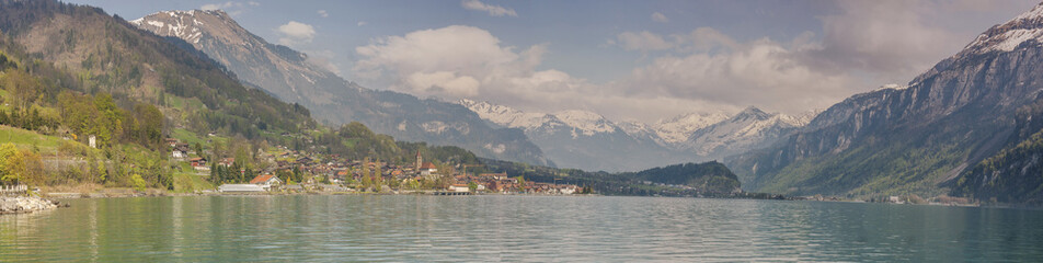 Panoramic view on Brienzersee lake - Switzerland.
