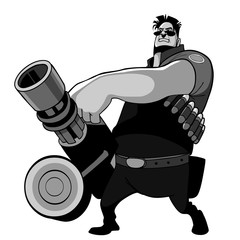 cartoon character man with a grenade launcher