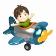 canvas print picture - 3D render of a kid riding on an airplane