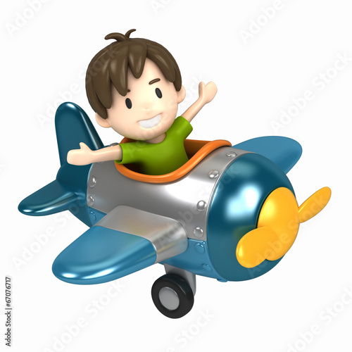 canvas print picture 3D render of a kid riding on an airplane