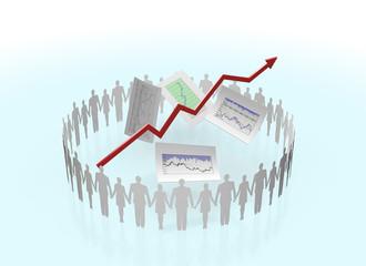 手を繋ぐ人と株価