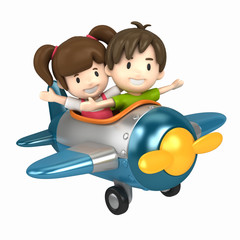 3D render of a kids riding on an airplane