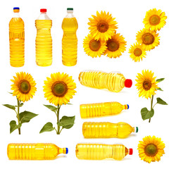 Sunflower and a bottle of sunflower oil
