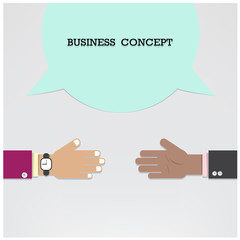 Businessman hands with speech bubble .Handshake or partnership c