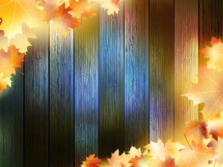 Autumn Leaves over wooden background. EPS10