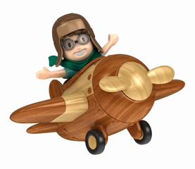 3D render of a kid riding on an airplane