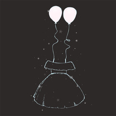 Sketch - strappy dress + balloons