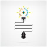 Creative light bulb idea and positive thinking concept poster