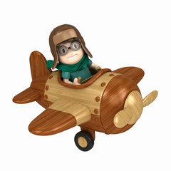 3D render of a kid flying and airplane