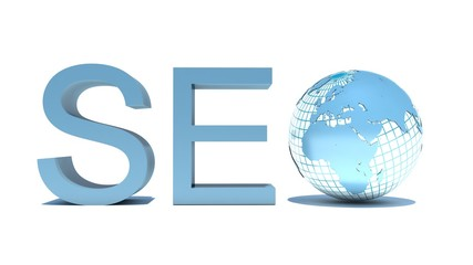 illustration of seo text with earth globe