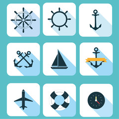 marine vector set illustration