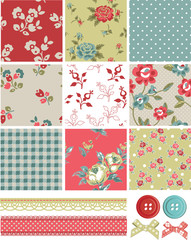 Vintage Inspired Vector Seamless Rose Patterns and Icons.