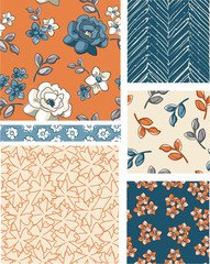 Seamless Floral Vector Patterns.