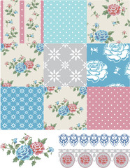 Patchwork Vector Floral Rose Patterns and trims.