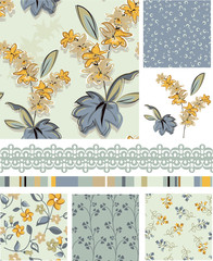 Seamless Floral Vector Patterns and Icons.