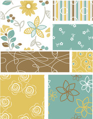 Modern Floral Vector Patterns.