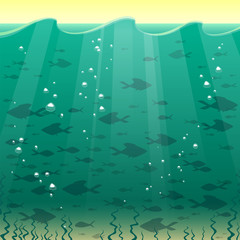 Vector illustration of undersea cartoon