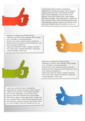 Vector infographic timeline report with hands with thumbs up