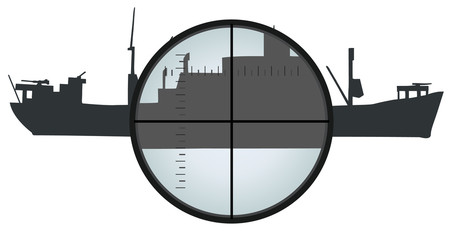 Vector format of an view at ship silhouette thru periscope