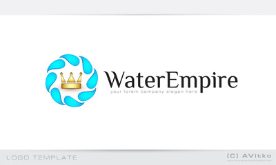 Abstract logo template, royal, corona, crown, water, drops