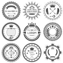 Set of round retro labels