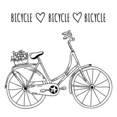 Cute vector hand drawn bicycle on white background