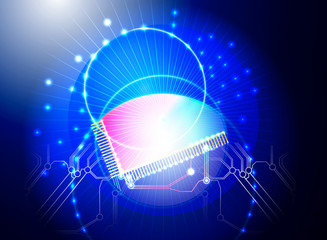 CPU Lighting effects vector technology background