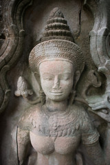 Apsara Dancers Stone Carving  at Angkor wat.