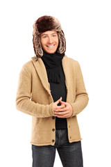 Fashionable young man with winter hat