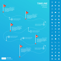 Timeline infographic template with set of startup icons