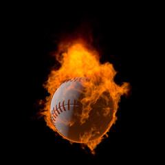 燃える野球ボール