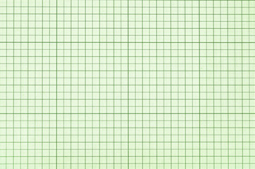 Old green graph paper square grid background.