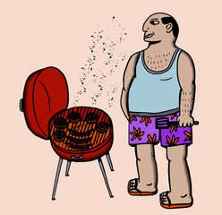 man cooking in barbecue