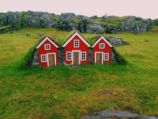 Red little toy houses at Egilsstadir, Iceland