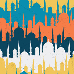Islamic seamless pattern with mosques in flat design style.