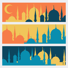 Horizontal banners with Islamic mosques in flat design style.