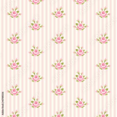 Deurstickers Retro Retro rose pattern 10