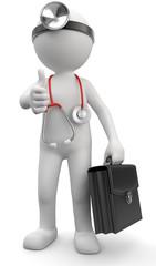 Doktor mit Arztkoffer Daumen hoch