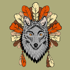 Totem illustration with wolf and feathers
