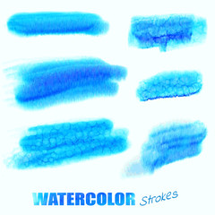 Vector watercolor blue swatches