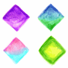 Colorful vector isolated watercolor paint rhombuses