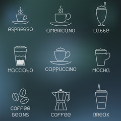 Coffee pictogram on rainy flare background