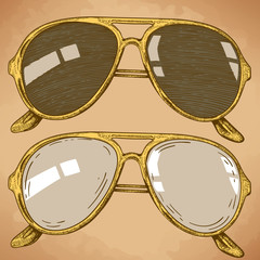 engraving illustration of sunglasses