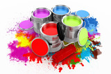 Fototapety 3d render of colorful paint bucket on white background