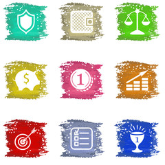 Vector colorful grungy icons set