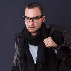 handsome young fashion man wearing scarf